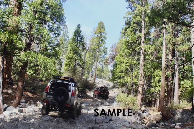 Heavily modified Land Rover Discovery in Tahoe National Forest, California rock-crawling/ off-roading with NCLR.