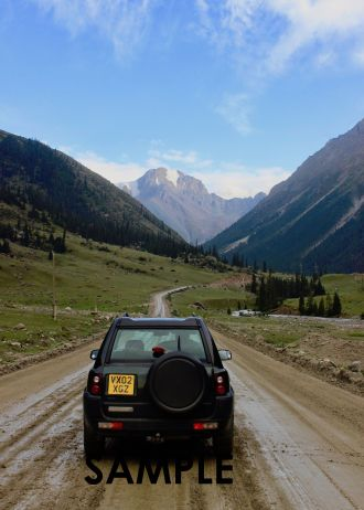 2002 TD4 Freelander Land Rover off-roading in Kyrgyzstan while on an overlanding trip from London to Mongolia and back.